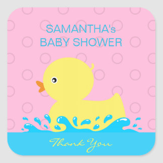 Sticker Carré Baby shower mignon en caoutchouc rose bleu jaune