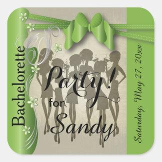 Sticker Carré Bachelorette ou filles de diva d'anniversaire -