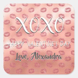 Sticker Carré Baisers d'or de rose de rose de Saint-Valentin de