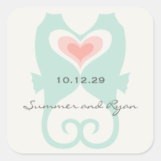 Sticker Carré Baisers du mariage d'été de plage de coeurs