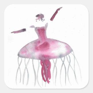 Sticker Carré Ballerine de méduses - Claudette