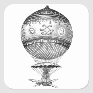 Sticker Carré Ballon Steampunk d'air chaud