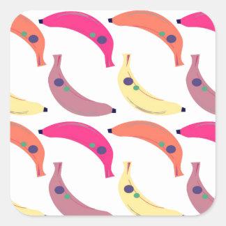 Sticker Carré Bananes exotiques de conception sur le blanc
