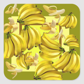 Sticker Carré bananes jaunes