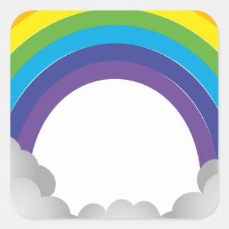 Sticker Carré Bande dessinée d'arc-en-ciel