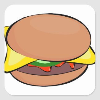 Sticker Carré Bande dessinée de cheeseburger