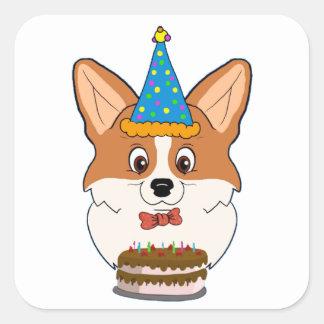 Sticker Carré Bande dessinée de corgi de Gallois d'anniversaire