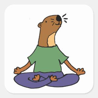 Sticker Carré Bande dessinée de pratique mignonne de yoga de