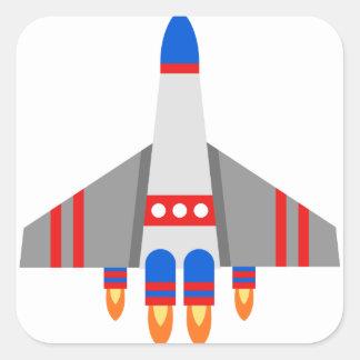 Sticker Carré Bande dessinée de vaisseau spatial