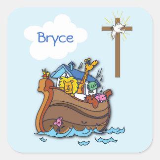 Sticker Carré Baptême de bébé de l'arche de Noé personnalisable,
