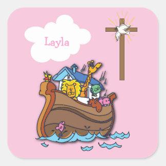 Sticker Carré Baptême de l'arche de Noé personnalisable, rose de