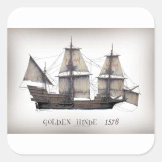 Sticker Carré Bateau d'or de 1578 Hinde