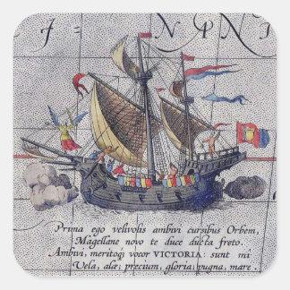 Sticker Carré Bateau et carte grands de l'océan pacifique