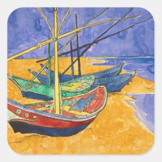 Sticker Carré Bateaux de pêche de Vincent van Gogh | sur la