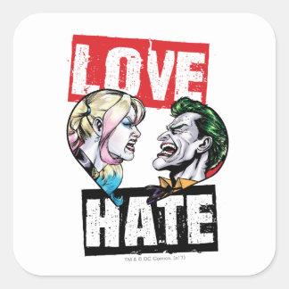 Sticker Carré Batman   Harley Quinn et amour de joker/haine