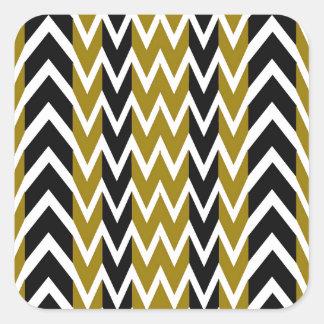 Sticker Carré Battements de coeur de noir et d'or