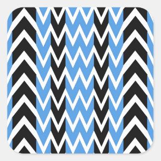 Sticker Carré Battements de coeur noirs et bleus