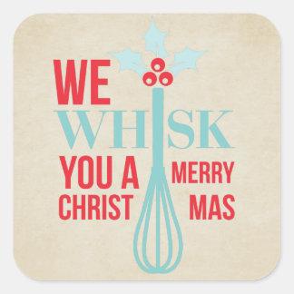 Sticker Carré Battez-assez vous un Joyeux Noël