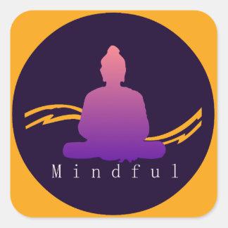 "Sticker Carré Beau Bouddha ""conscient"""