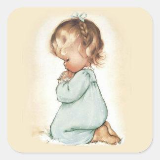 Sticker Carré Beau chapelet de prière vintage de petite fille