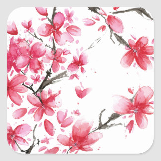 Sticker Carré Beau et élégant joint d'autocollant de fleurs de