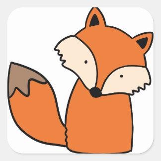 Sticker Carré Beau renard rouge