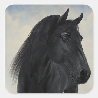 Sticker Carré Beauté noire - portrait frison noir de cheval