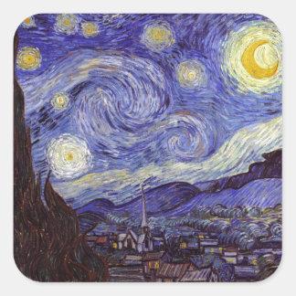 Sticker Carré Beaux-arts de cru de nuit étoilée de Vincent van