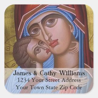 Sticker Carré Beaux-arts vintages de Mary et de bébé Jésus