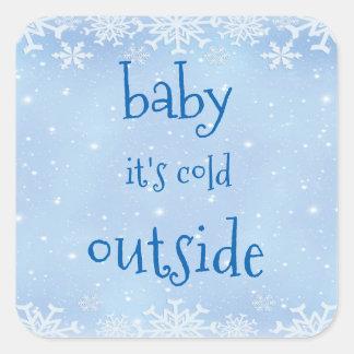 Sticker Carré Bébé bleu de flocon de neige de Noël c'est