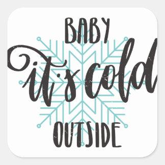 Sticker Carré Bébé son flocon de neige extérieur froid -
