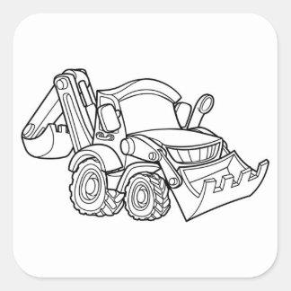 Sticker Carré Bêcheur de bouteur de véhicule de bande dessinée