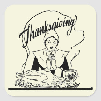 Sticker Carré Beige vintage de grâce de thanksgiving