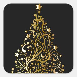 Sticker Carré Bel arbre de Noël métallique étoilé d'or