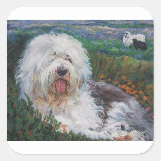 Sticker Carré Belle vieille peinture anglaise d'art de chien de