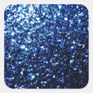 Sticker Carré Belles étincelles bleu-foncé de scintillement