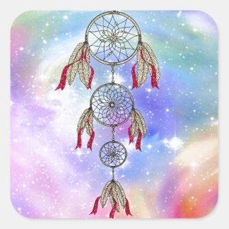 Sticker Carré Belles plumes lunatiques à la mode de