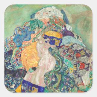 Sticker Carré Berceau de bébé de Gustav Klimt