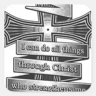Sticker Carré Bible de chrétien de 4h13 de Philippiens d'édition