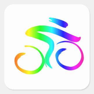 Sticker Carré Bicyclette 2 d'arc-en-ciel