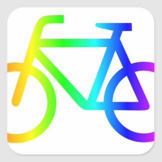 Sticker Carré Bicyclette 3 d'arc-en-ciel