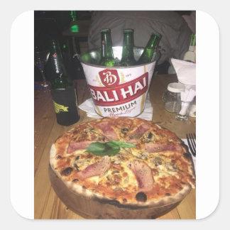 Sticker Carré Bière et pizza de Bali