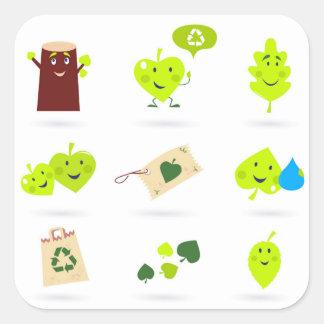 Sticker Carré Bio vert mignon d'icônes d'enfants