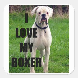 Sticker Carré Blanc de PIC de l'amour W de boxeur