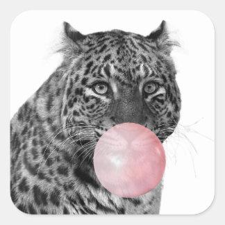 Sticker Carré Blanc de rose de noir de bubble-gum de chat de