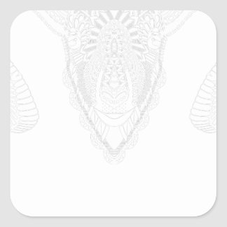 Sticker Carré Blanc de style de mandala de dessin de RAM