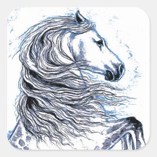 Sticker Carré Bleu andalou de cheval