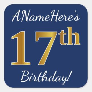 Sticker Carré Bleu, anniversaire d'or de Faux 17ème + Nom fait