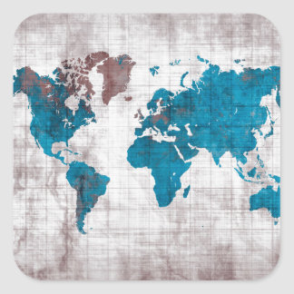 Sticker Carré bleu blanc de carte du monde