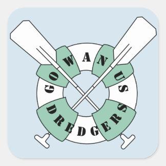 Sticker Carré Bleu d'autocollant de rectangle de dragueurs de